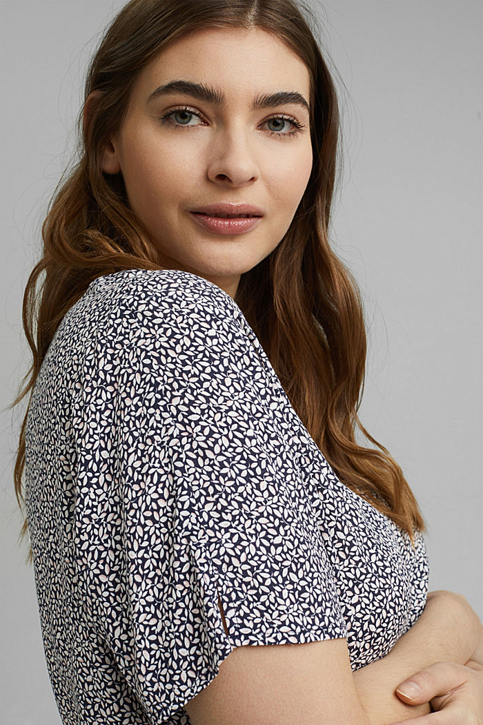 CURVY blouse top with a floral print, NAVY, detail image number 5