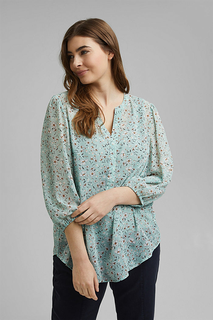 CURVY recycled: printed chiffon blouse