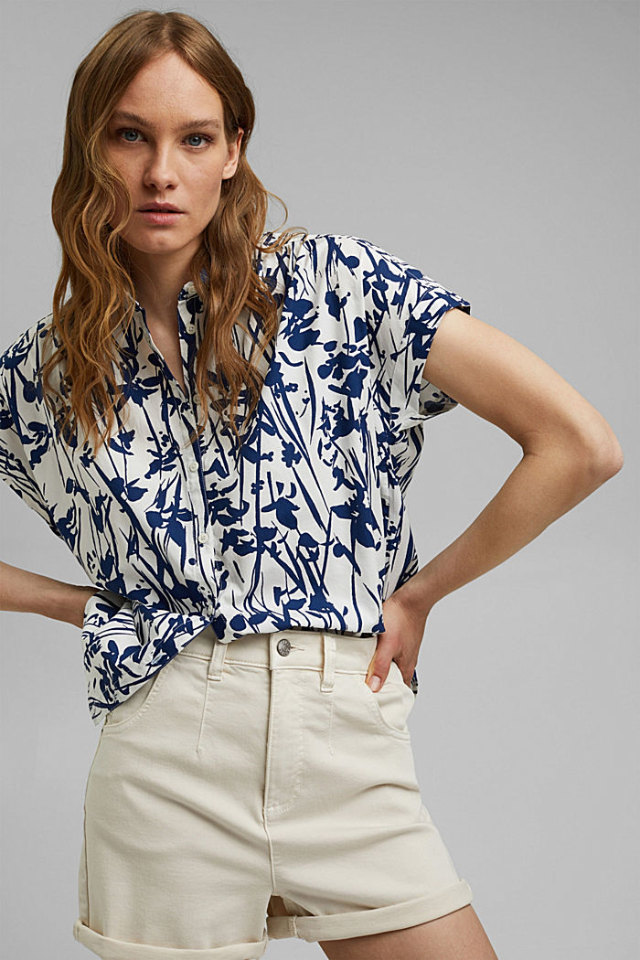 Browse top with print, 100% organic cotton, OFF WHITE, detail image number 0