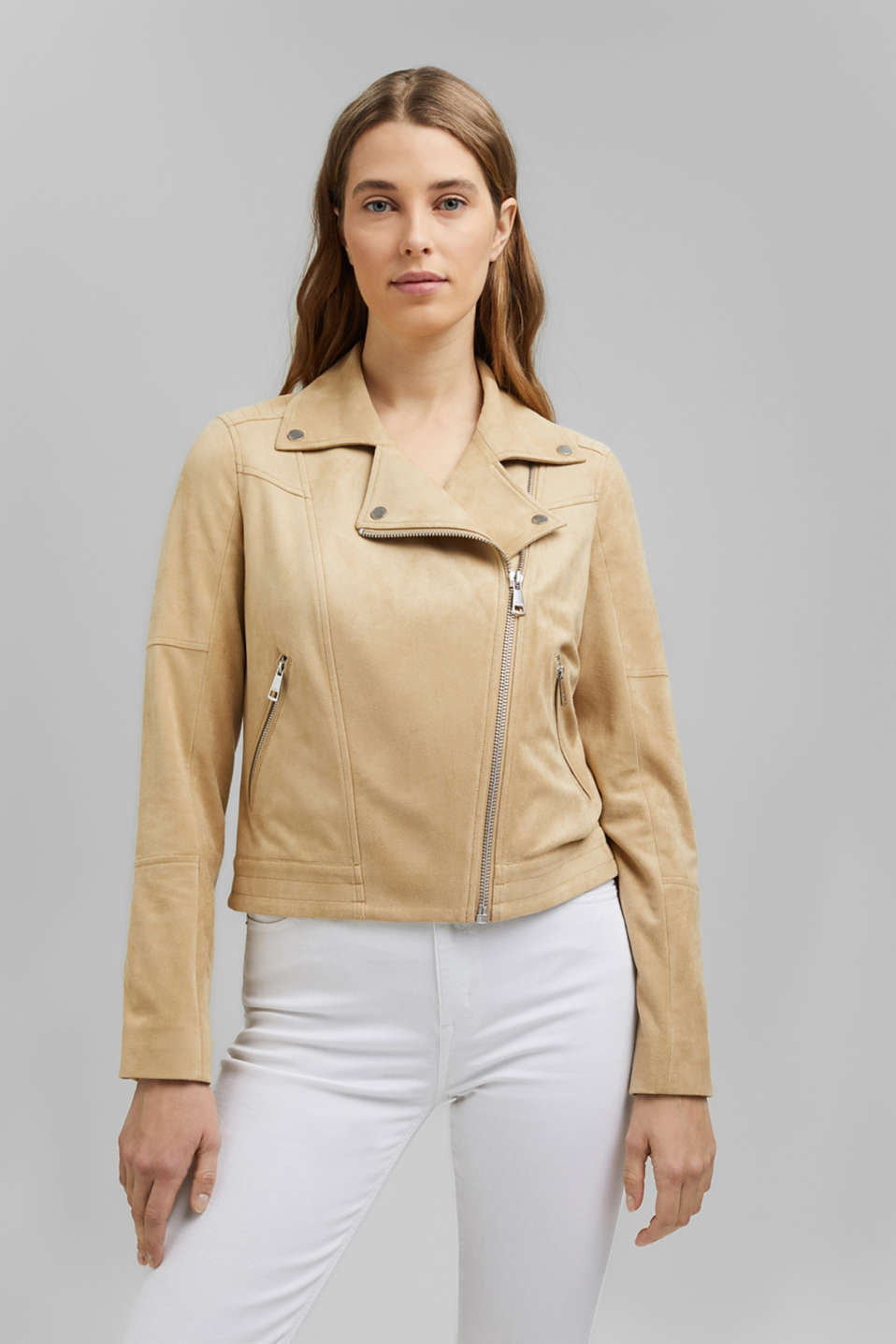 Esprit - Recycled: faux suede biker jacket