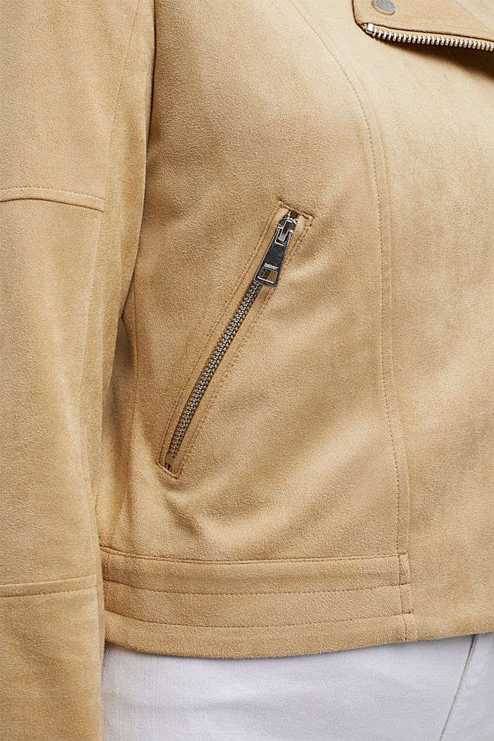 Recycelt: Bikerjacke in Veloursleder-Optik, SAND, detail image number 6
