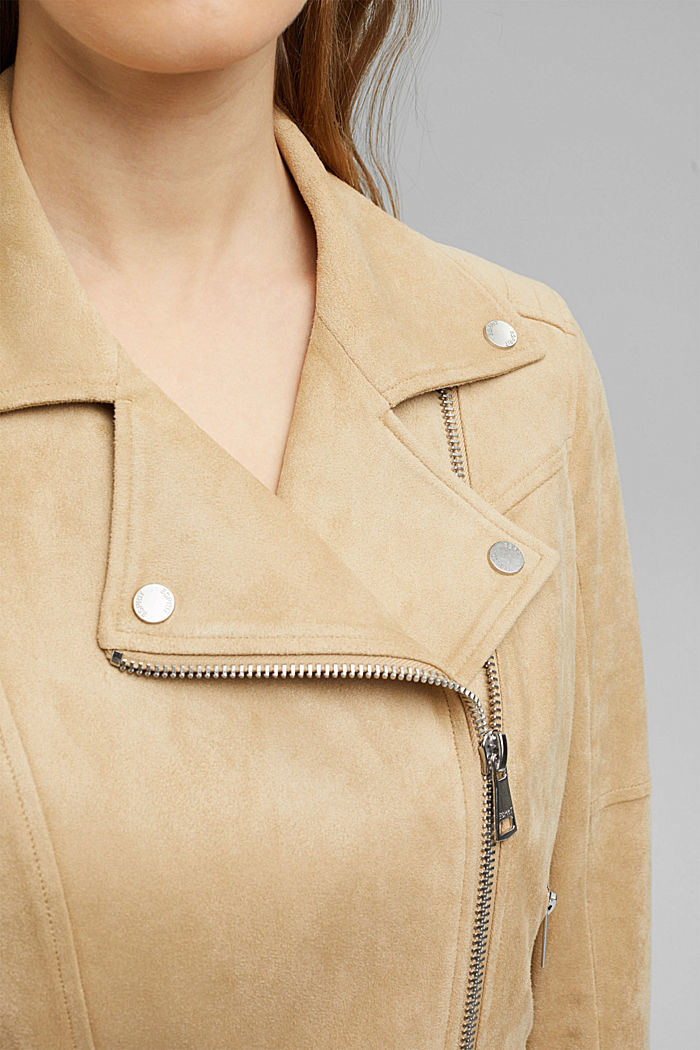 Recycelt: Bikerjacke in Veloursleder-Optik, SAND, detail image number 2