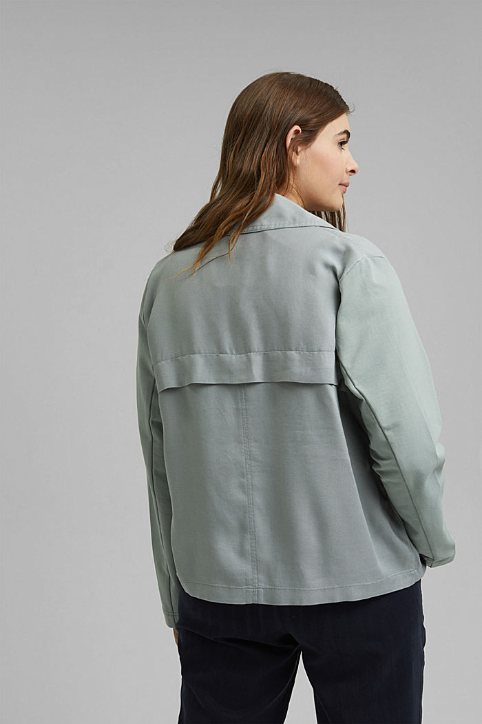 CURVY biker-look jacket in TENCEL™, TURQUOISE, detail image number 3
