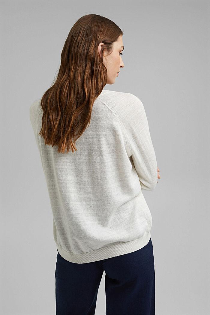 Linen/organic cotton: V-neck cardigan, OFF WHITE, detail image number 3