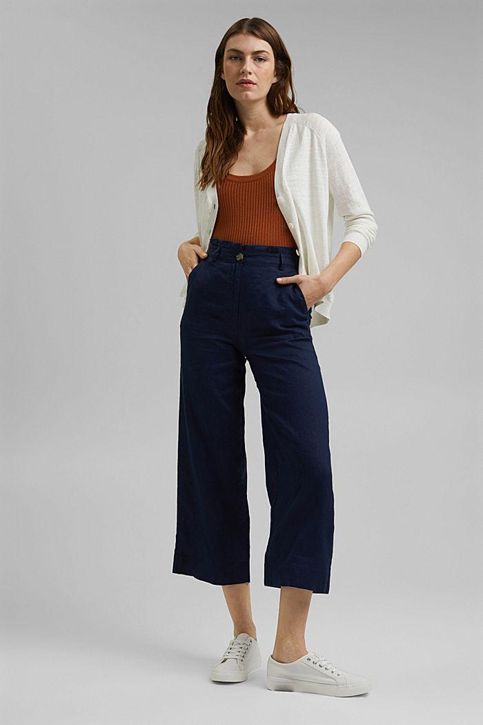 Linen/organic cotton: V-neck cardigan, OFF WHITE, detail image number 6