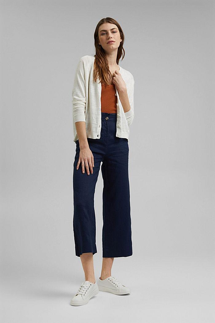 Linen/organic cotton: V-neck cardigan, OFF WHITE, detail image number 1