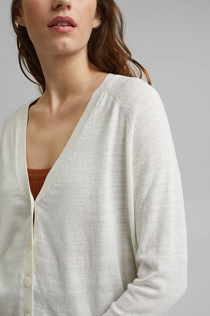 Leinen/Organic Cotton: V-Neck Cardigan, OFF WHITE, detail image number 2