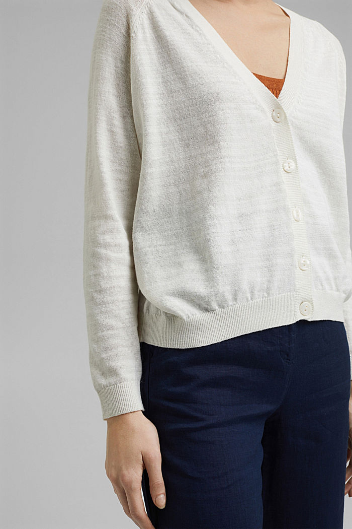 Leinen/Organic Cotton: V-Neck Cardigan, OFF WHITE, detail image number 5