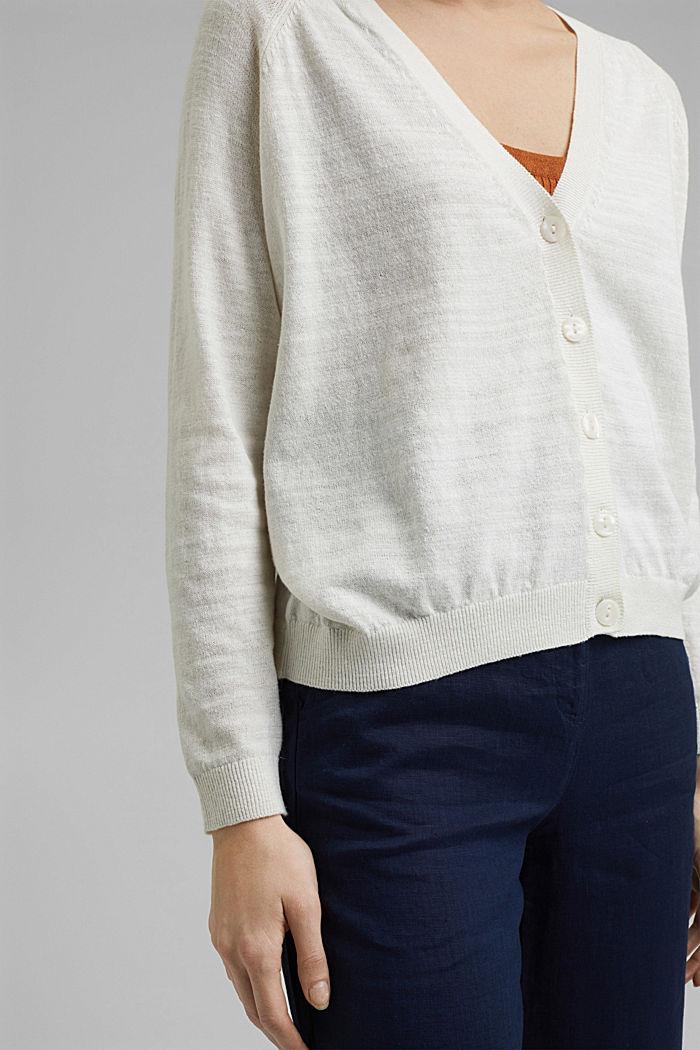 Linen/organic cotton: V-neck cardigan, OFF WHITE, detail image number 5