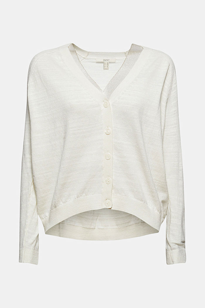 Leinen/Organic Cotton: V-Neck Cardigan, OFF WHITE, detail image number 7