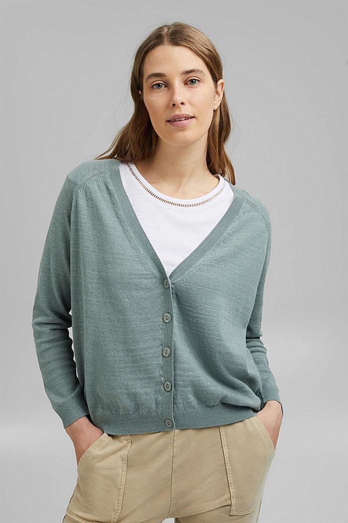 Linen/organic cotton: V-neck cardigan, TURQUOISE, detail image number 0