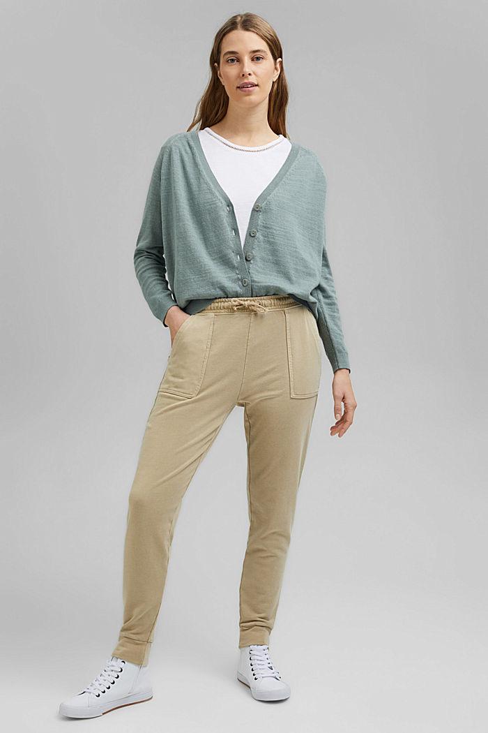 Linen/organic cotton: V-neck cardigan, TURQUOISE, detail image number 1