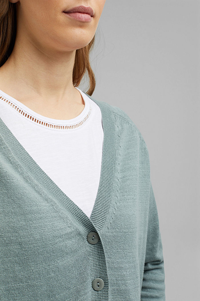 Leinen/Organic Cotton: V-Neck Cardigan, TURQUOISE, detail image number 2