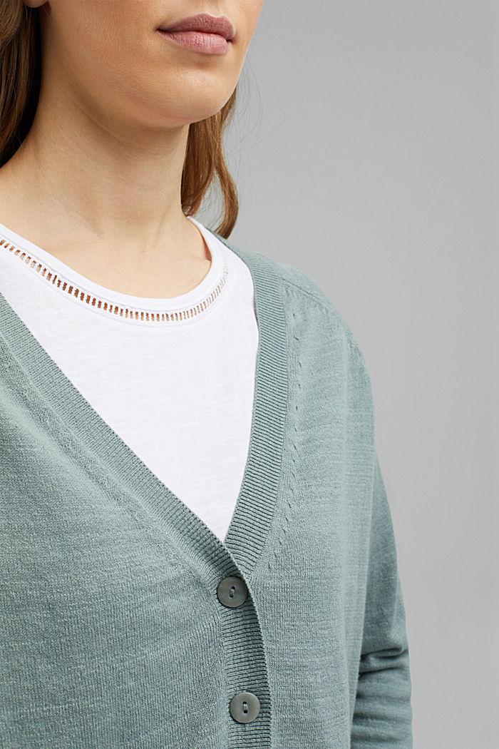 Linen/organic cotton: V-neck cardigan, TURQUOISE, detail image number 2