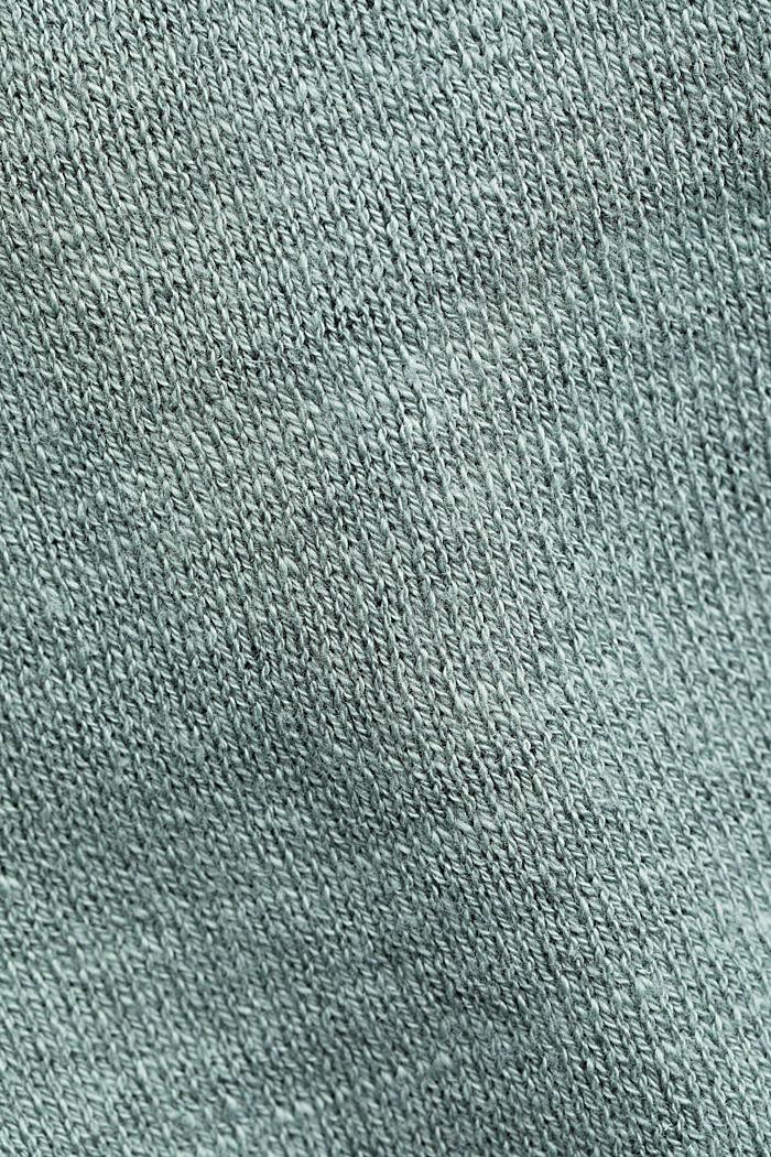 Linen/organic cotton: V-neck cardigan, TURQUOISE, detail image number 4