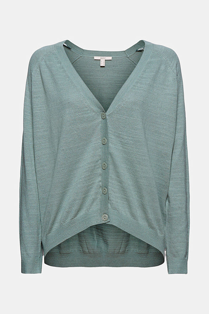 Leinen/Organic Cotton: V-Neck Cardigan, TURQUOISE, detail image number 5