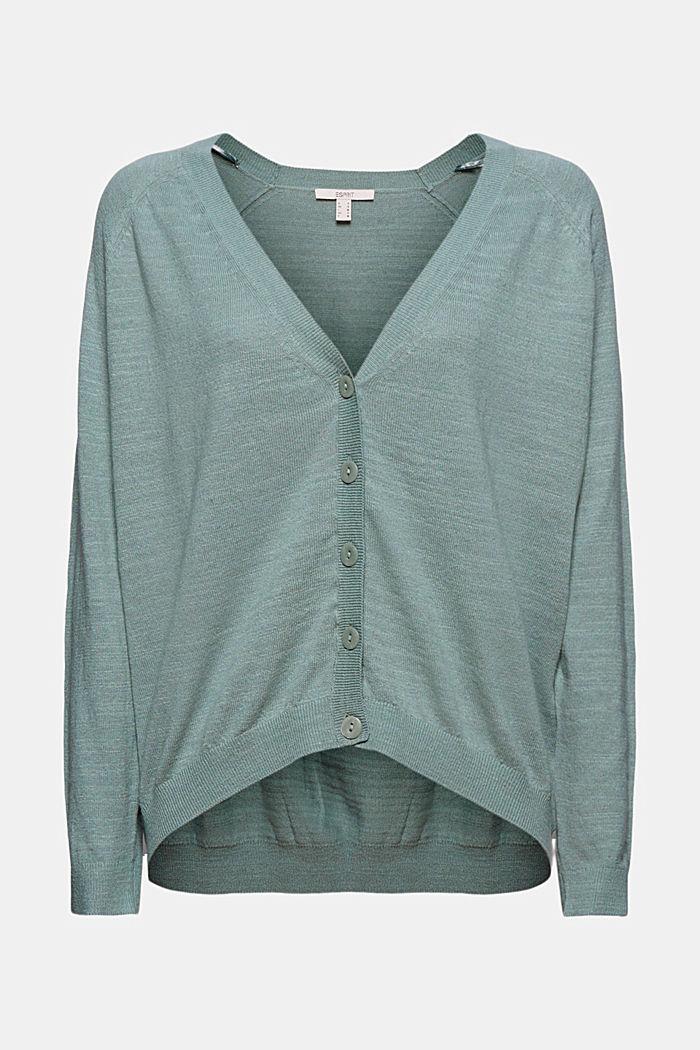 Linen/organic cotton: V-neck cardigan, TURQUOISE, detail image number 5