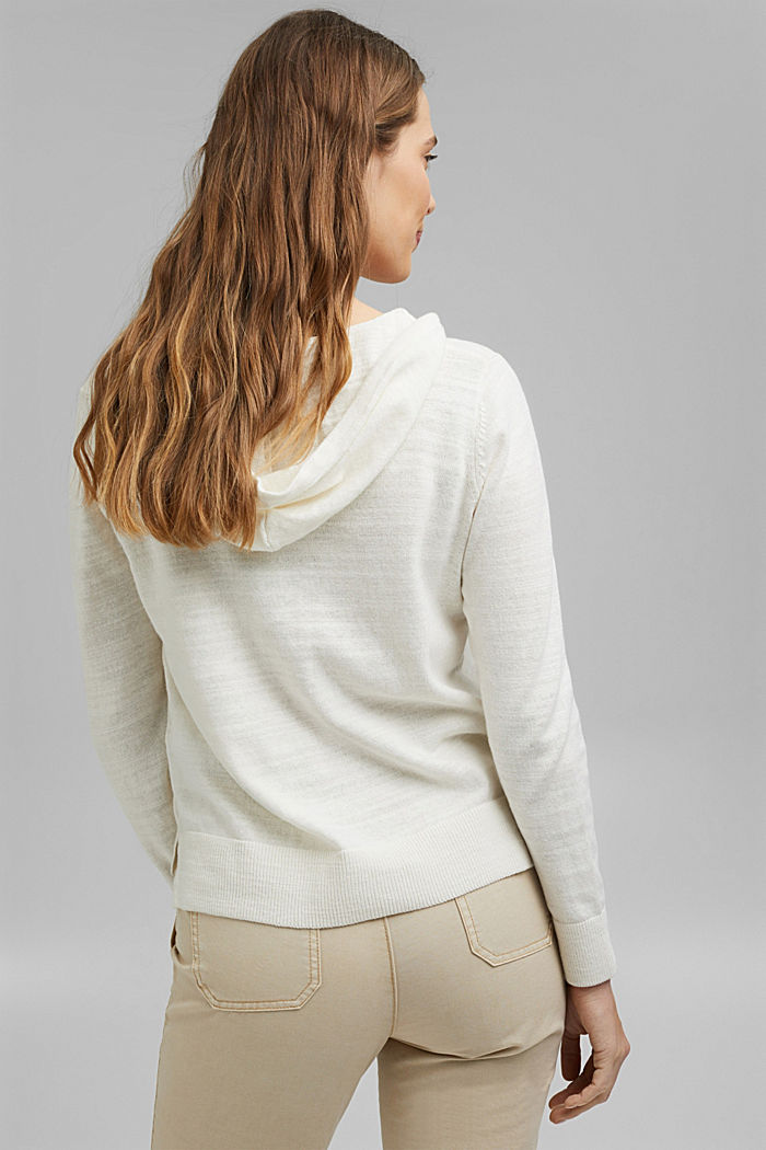 Linen/organic cotton: V-neck hoodie, OFF WHITE, detail image number 3