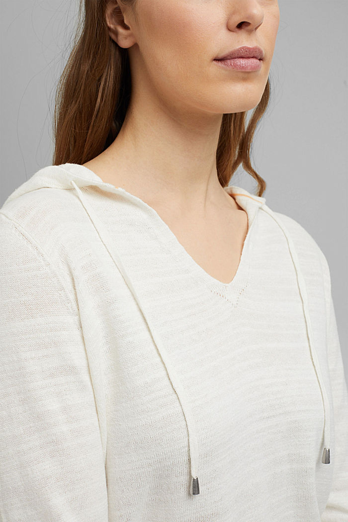 Linen/organic cotton: V-neck hoodie, OFF WHITE, detail image number 2