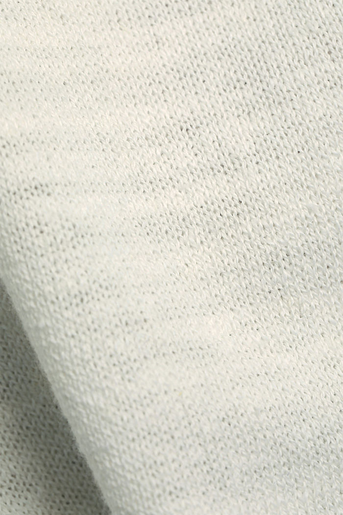 Linen/organic cotton: V-neck hoodie, OFF WHITE, detail image number 4