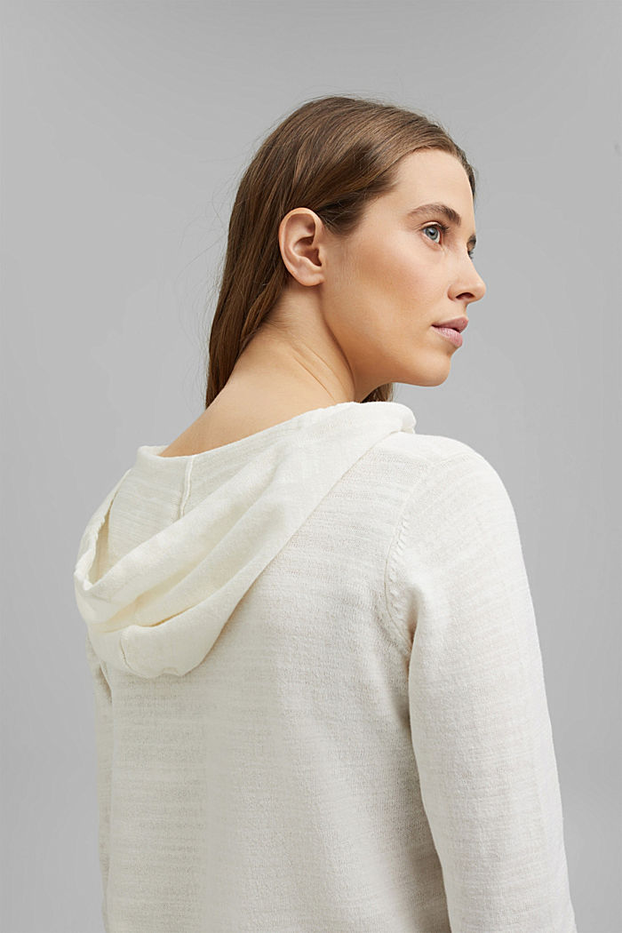 Linen/organic cotton: V-neck hoodie, OFF WHITE, detail image number 5