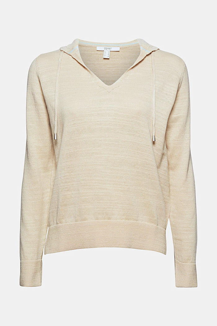 Linen/organic cotton: V-neck hoodie, SAND, overview