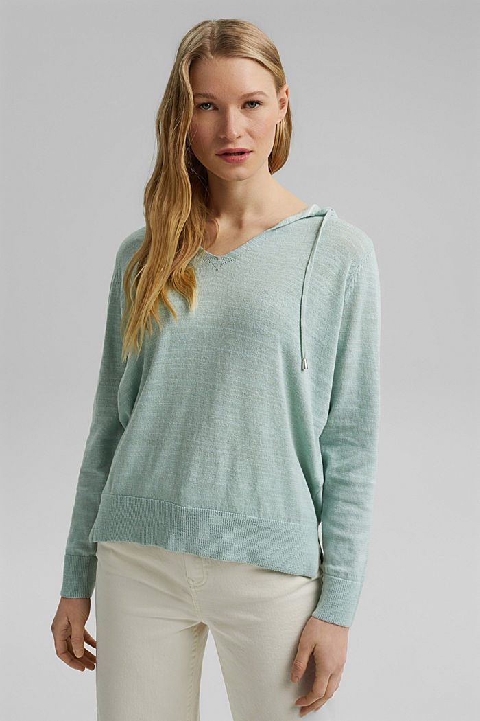 Linen/organic cotton: V-neck hoodie, LIGHT AQUA GREEN, detail image number 0