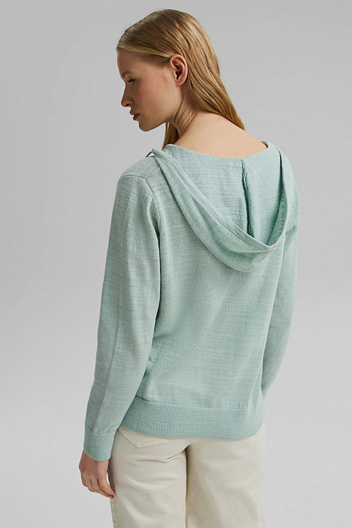 Linen/organic cotton: V-neck hoodie, LIGHT AQUA GREEN, detail image number 3