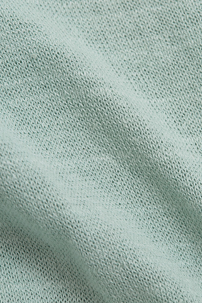 Linen/organic cotton: V-neck hoodie, LIGHT AQUA GREEN, detail image number 4