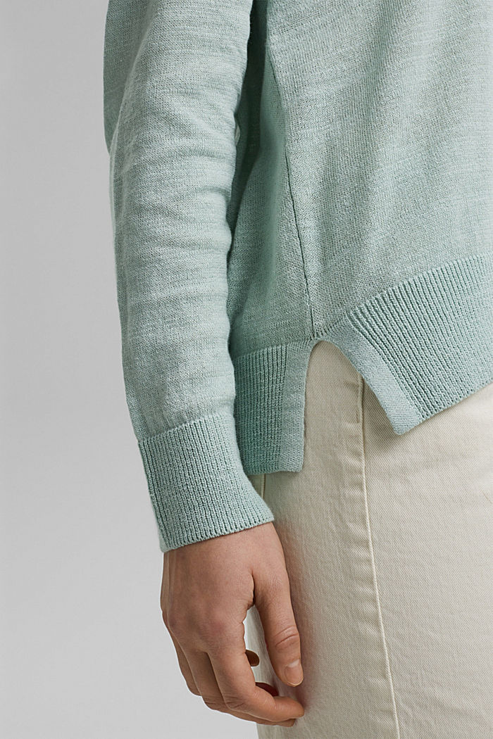 Linen/organic cotton: V-neck hoodie, LIGHT AQUA GREEN, detail image number 5