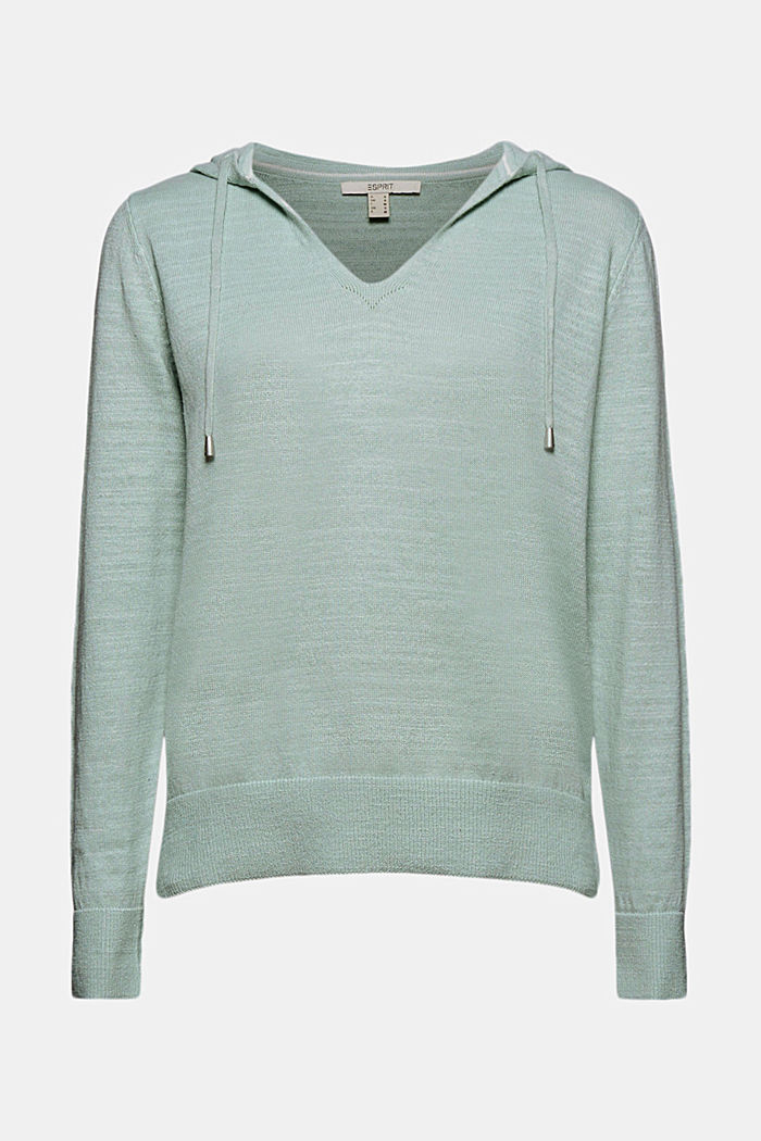 Linen/organic cotton: V-neck hoodie, LIGHT AQUA GREEN, detail image number 6