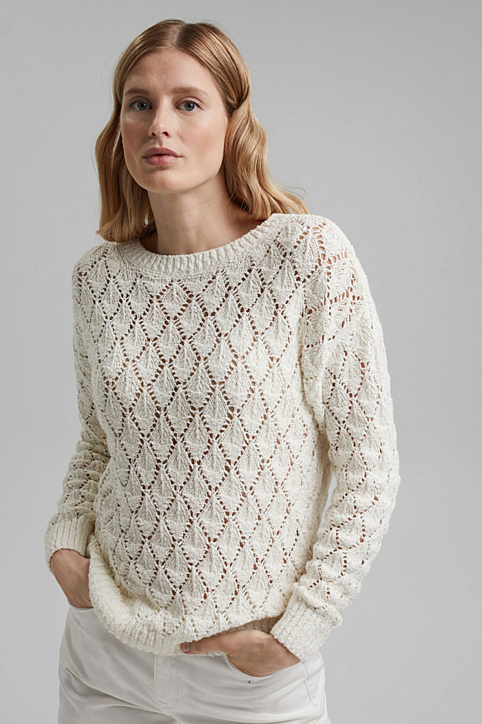 Pullover mit Lochmuster, 100% Organic Cotton, OFF WHITE, detail image number 0