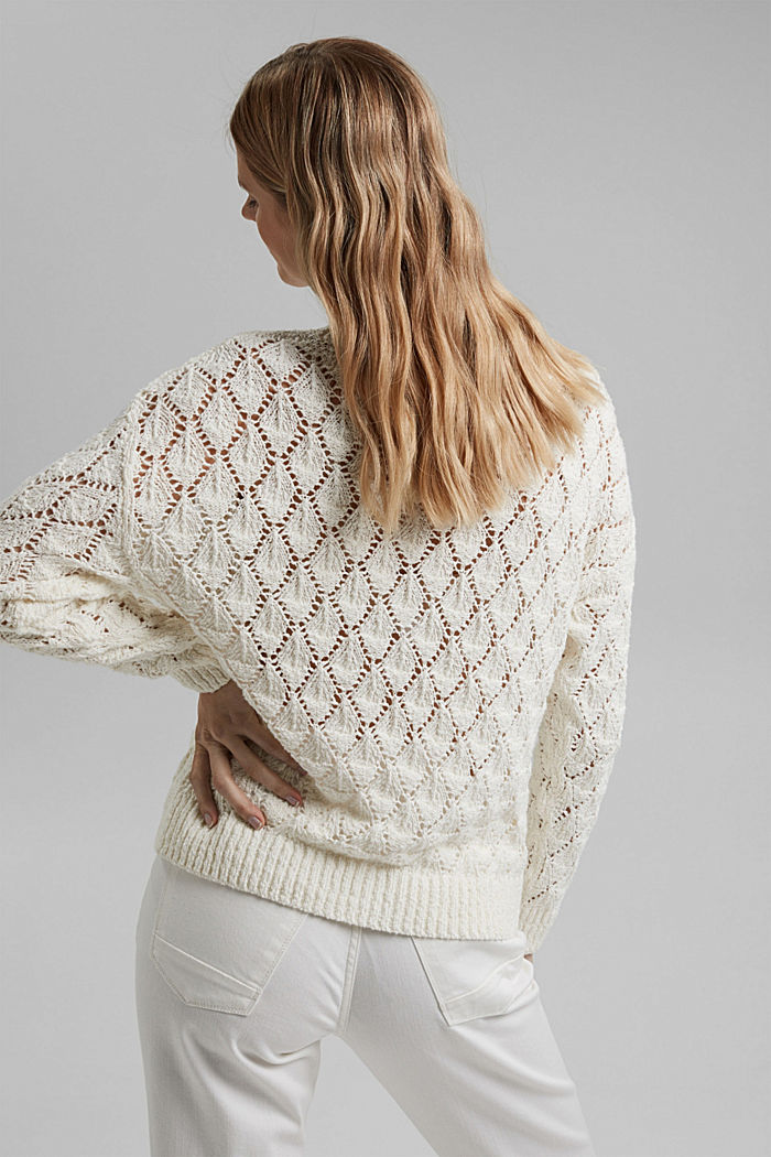 Pullover mit Lochmuster, 100% Organic Cotton, OFF WHITE, detail image number 3