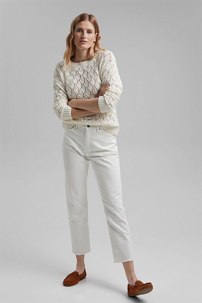 Pullover mit Lochmuster, 100% Organic Cotton, OFF WHITE, detail image number 1