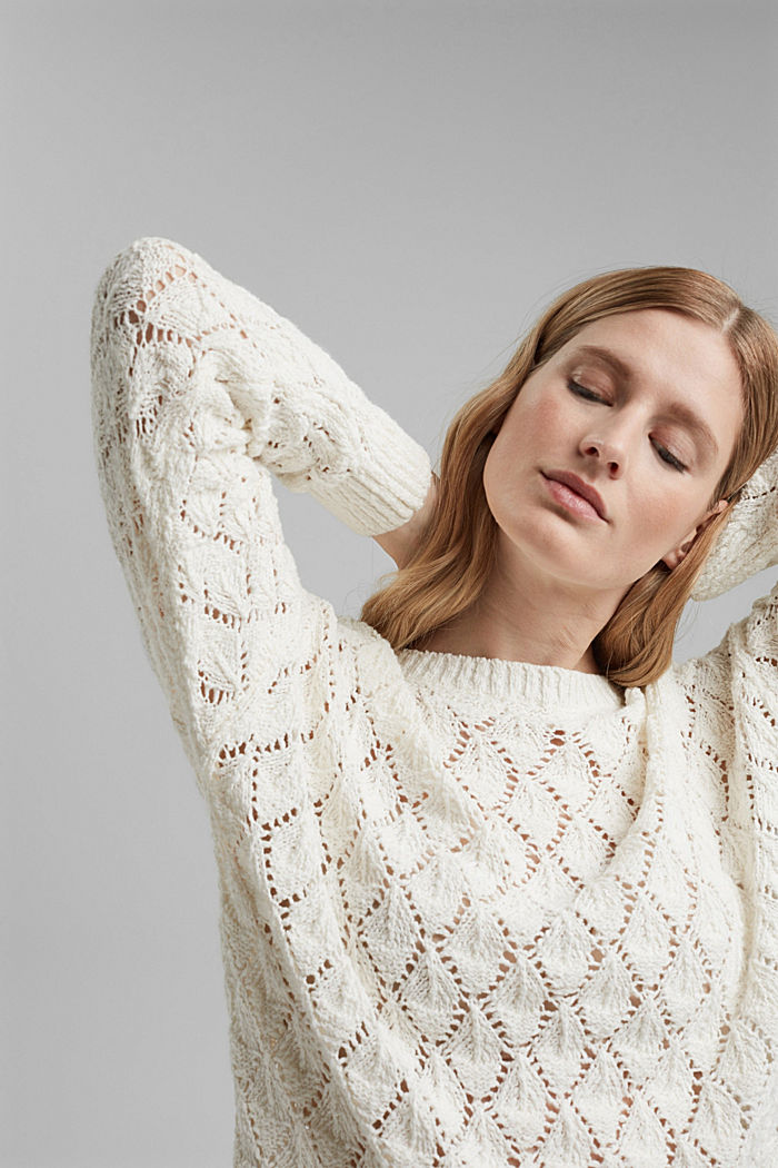 Pullover mit Lochmuster, 100% Organic Cotton, OFF WHITE, detail image number 5