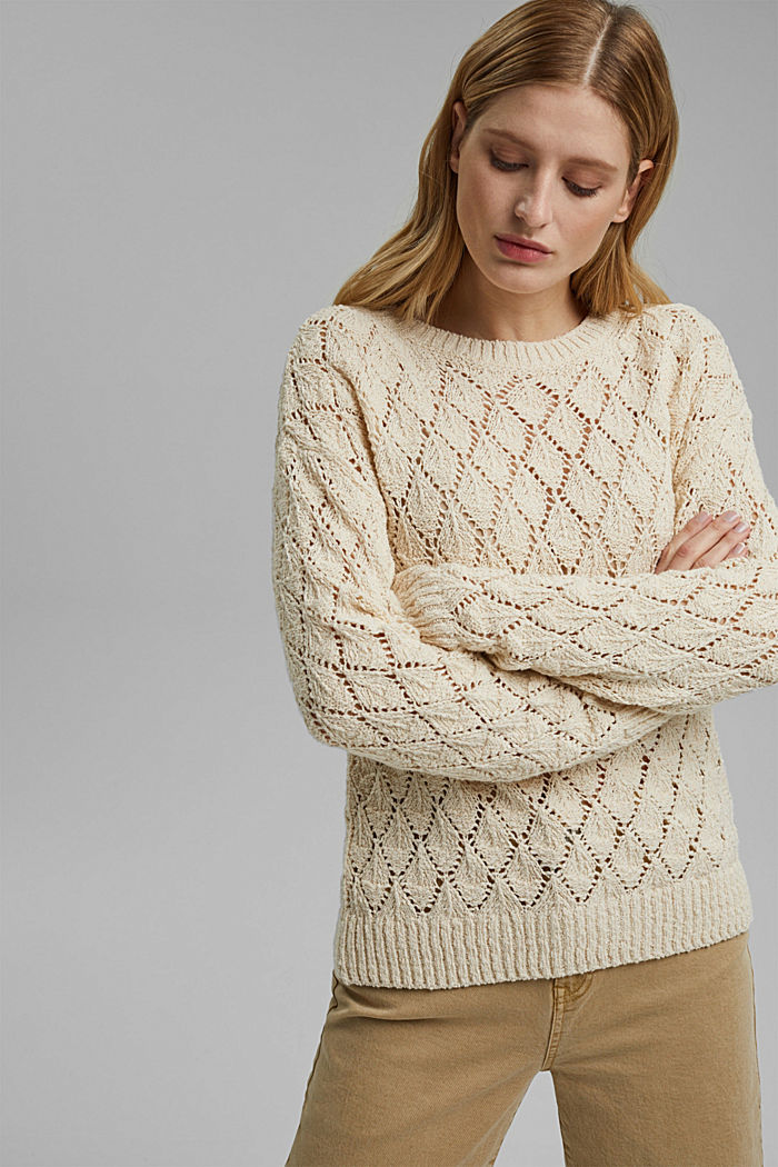 Pullover mit Lochmuster, 100% Organic Cotton, SAND, detail image number 0