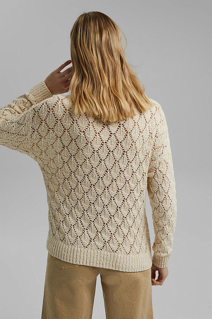 Pullover mit Lochmuster, 100% Organic Cotton, SAND, detail image number 3