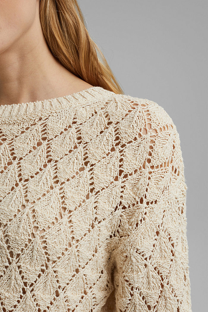 Pullover mit Lochmuster, 100% Organic Cotton, SAND, detail image number 2