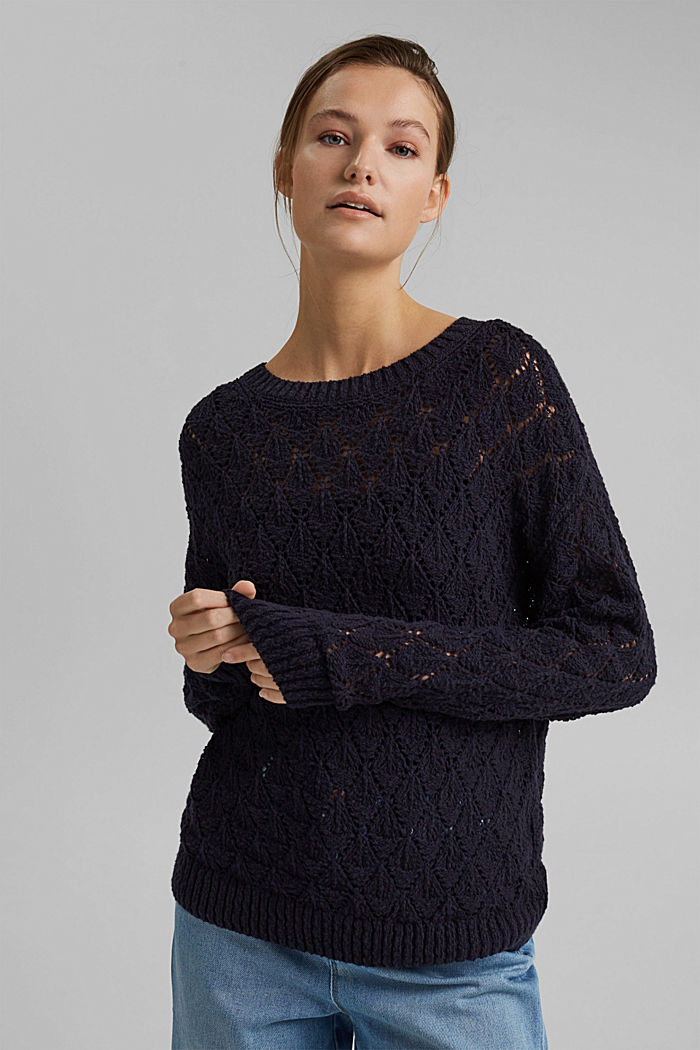 Pullover mit Lochmuster, 100% Organic Cotton, NAVY, detail image number 0