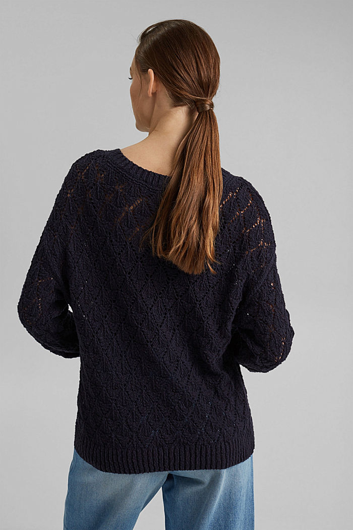 Pullover mit Lochmuster, 100% Organic Cotton, NAVY, detail image number 3