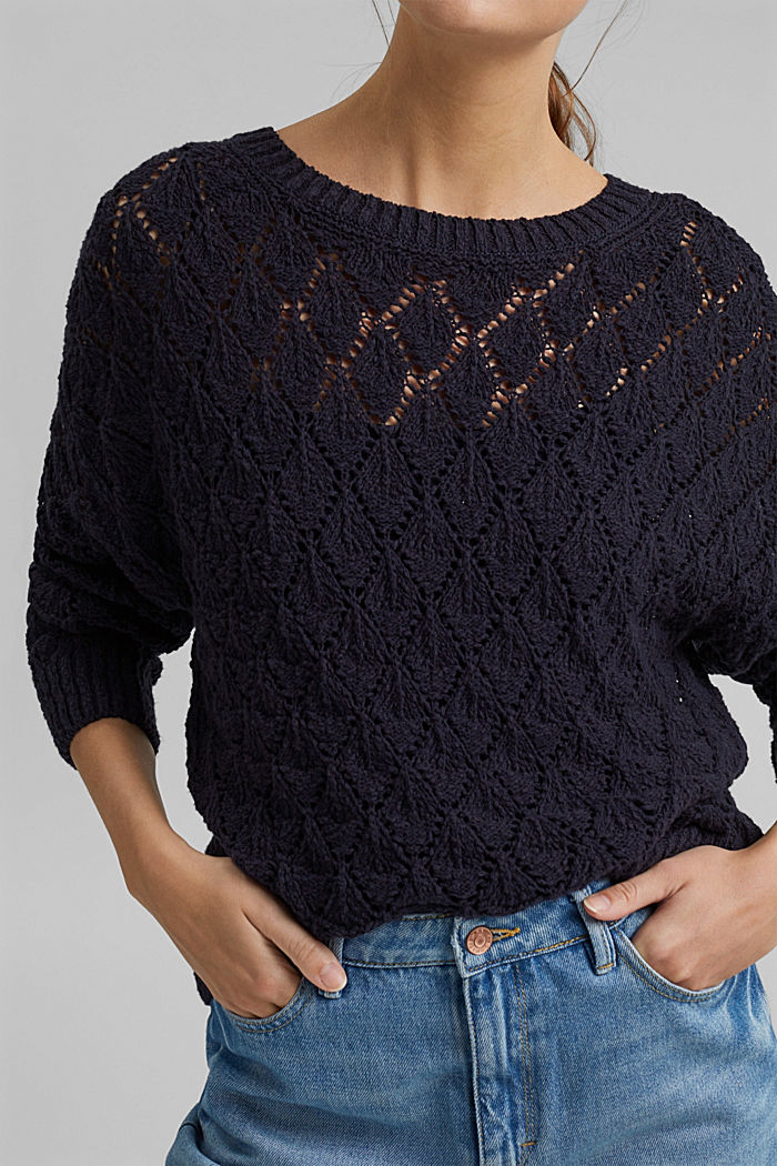 Pullover mit Lochmuster, 100% Organic Cotton, NAVY, detail image number 2
