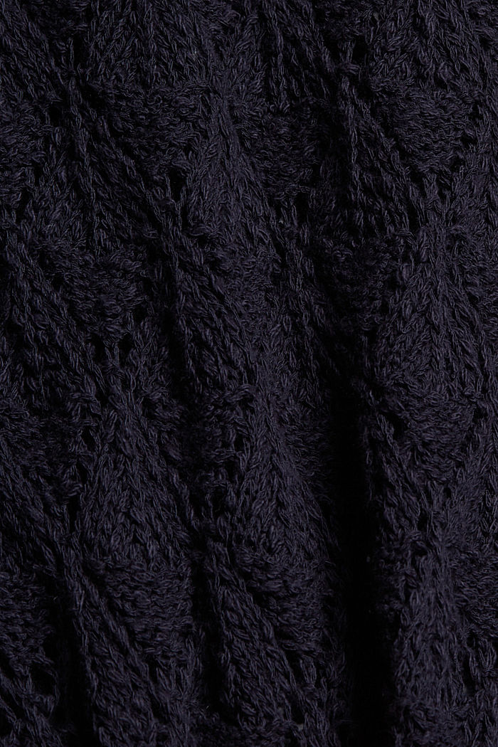 Pullover mit Lochmuster, 100% Organic Cotton, NAVY, detail image number 4