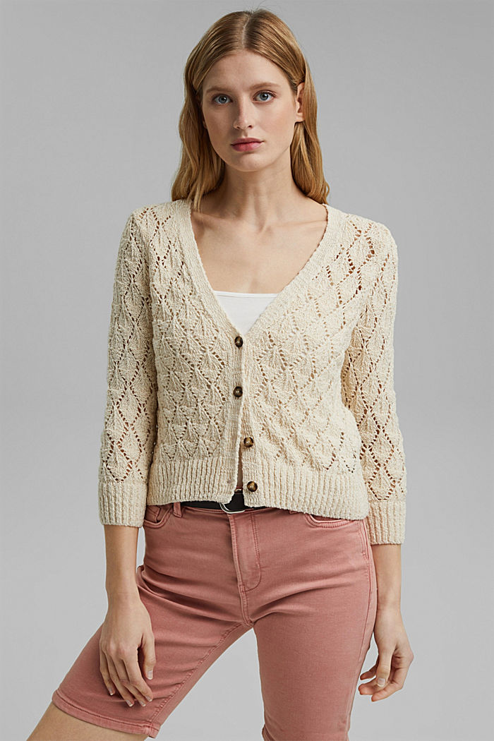 Cardigan made of 100% organic cotton, SAND, detail image number 0