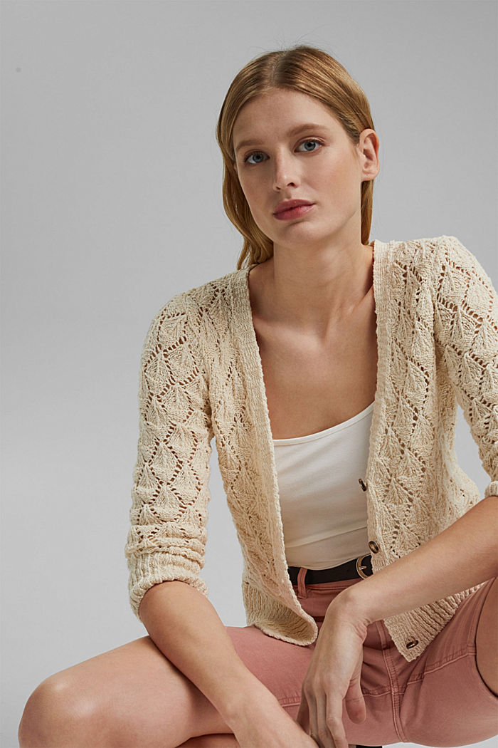 Cardigan aus 100% Organic Cotton, SAND, detail image number 5