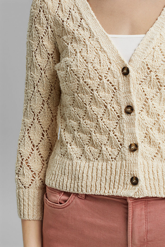Cardigan made of 100% organic cotton, SAND, detail image number 2