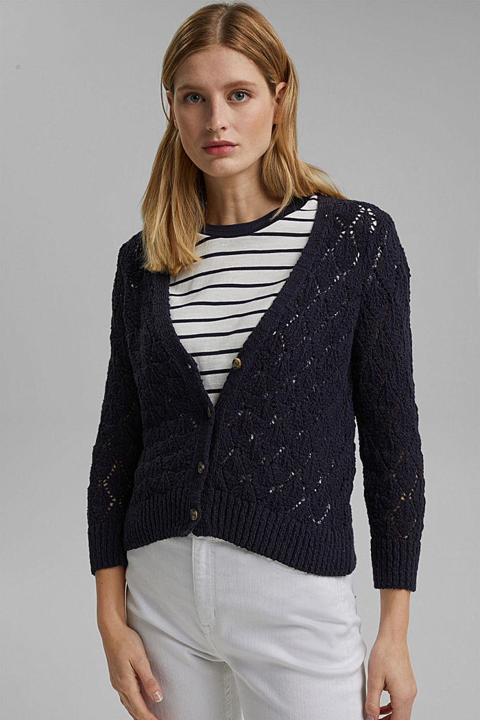 Cardigan made of 100% organic cotton, NAVY, detail image number 0