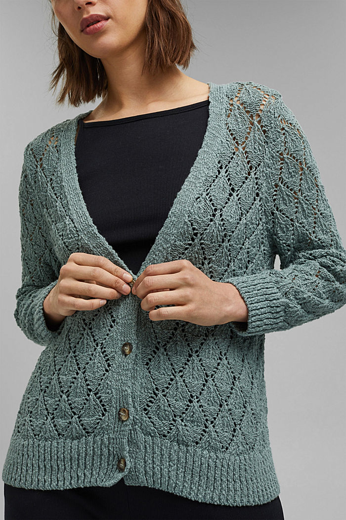 Cardigan made of 100% organic cotton, TURQUOISE, detail image number 2