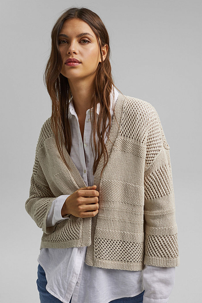 Linen blend: pointelle cardigan, SAND, detail image number 0