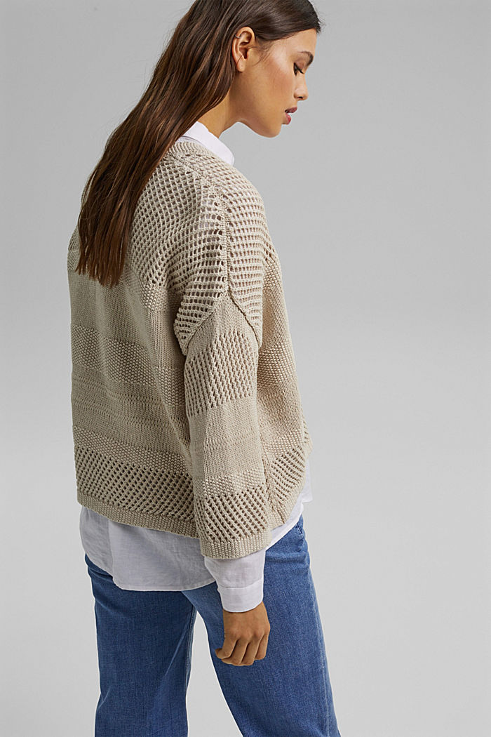 Linen blend: pointelle cardigan, SAND, detail image number 3