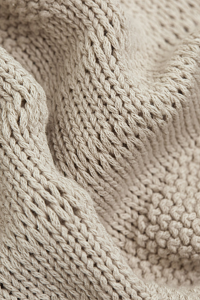 Linen blend: pointelle cardigan, SAND, detail image number 4